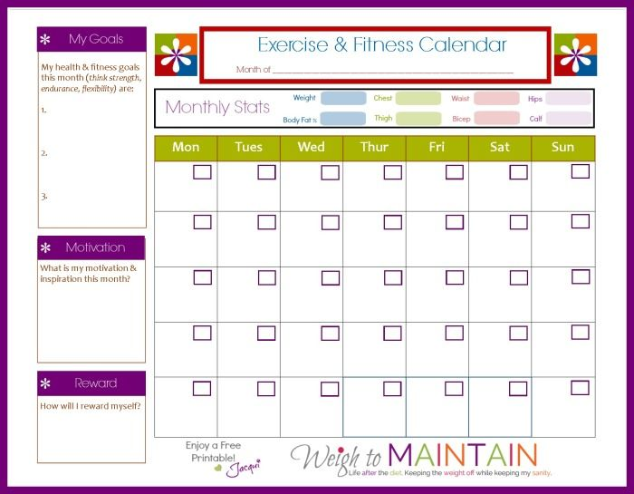 Fitness Workout Calendar | Calendar Templates