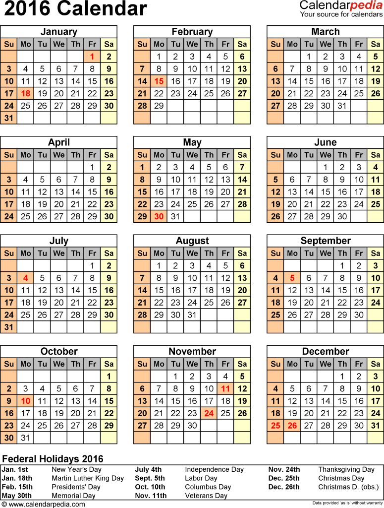 monthly calendar with holidays