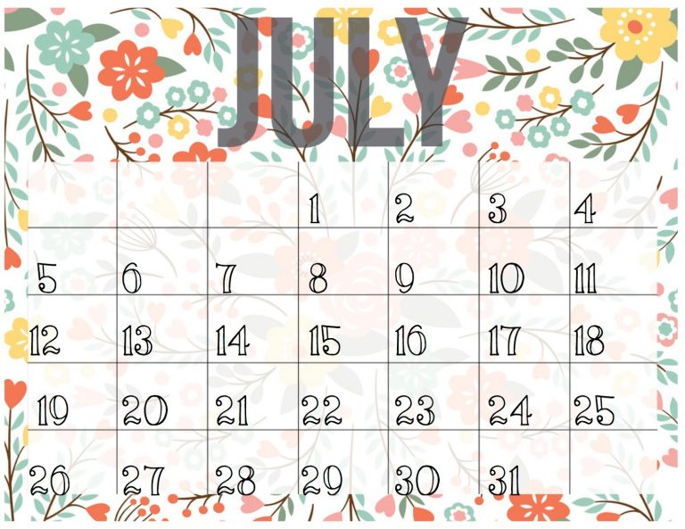 July And August Calendar Templates  Calendar Templates