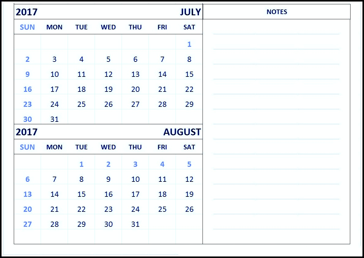 Free Print June July August 2017 Calendar Template